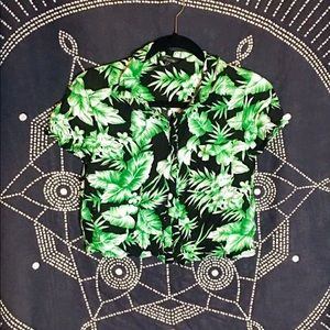 Green black and white Hawaiian leaf vacation shirt